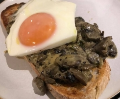 Garlic Mushrooms with Steamed Egg on Sourdough