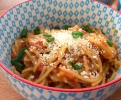 Creamy chicken tomato spaghetti.