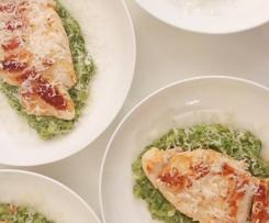 Broccoli and Quinoa Risotto with pan seared Chicken