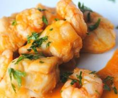 Monkfish with prawns in spicy sauce