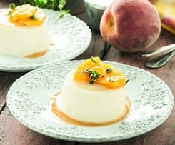 Panna Cottas with Peaches and Thyme Syrup