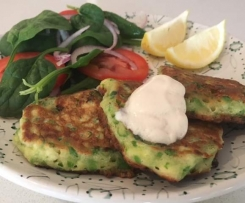 Smashed Pea and Haloumi Fritters