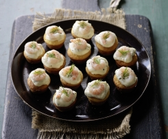 Plenta Muffins with Prawns and Mayo