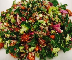 Quinoa, Broccoli, Kale & Almond Salad with Seeded Mustard Dressing