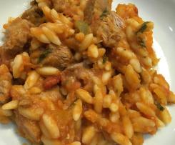 Low fat Pasta with fresh Tarragon and chicken thighs in tomato sauce