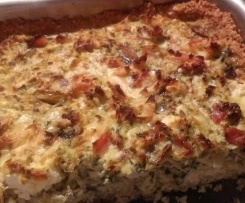 Chicken, spinach and feta quiche with a quinoa and parmesan crust