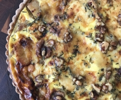 Stilton, pear, potato  and balsamic onions pie with walnut pastry crust