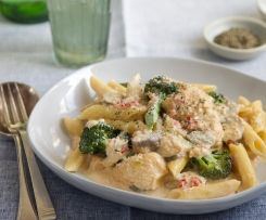 Pasta Carbonara with Chicken and Broccoli